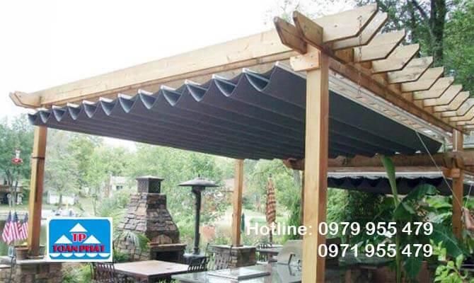 Mái bạt xếp đẹp dành cho quán cà phê